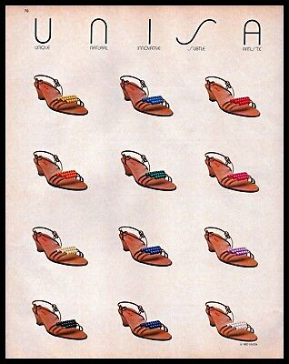 Unisa Shoes Vintage Photo PRINT AD 1983 Womens Colorful Beaded Strap Heel 1980s