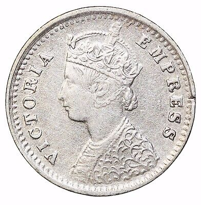 British India Queen Victoria 1900-B Silver 2 Annas KM#488