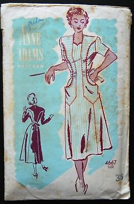 Vintage Original Anne Adams 40's Afternoon Dress Pattern No. 4667