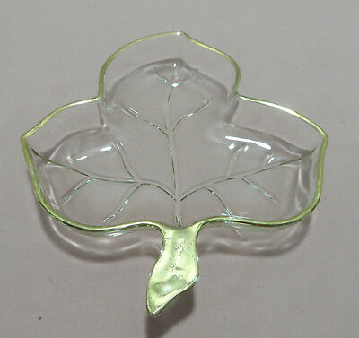 Clear Glass Trinket Dish in the Shape of a Leaf
