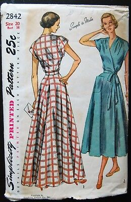 Vintage Original Simplicity 40's Wrap Around House Coat Pattern No. 2842