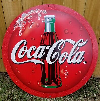 """Coca - Cola 1980s Large 27 1/2"""" Round Double Sided Sign EUC"""
