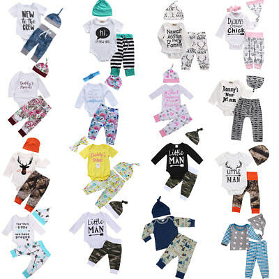 Newborn Infant Baby Boy Girl Long Sleeve Romper Tops+Pants+Hat Clothes Outfits