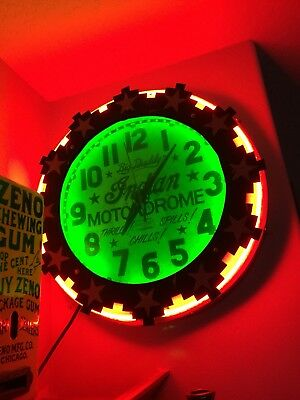 RARE!! Aztec Electric Neon Clock,Wall of Death, Indian motorcycle Motordrome