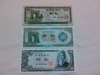 Bank of Korea, 100 Won, Banknotes. Lot of 3. All different printings.