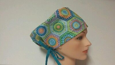 Crochet  Owl -Hexagon  / Hat Pixie / Scrub Surgical / Medical Chemo / Cap