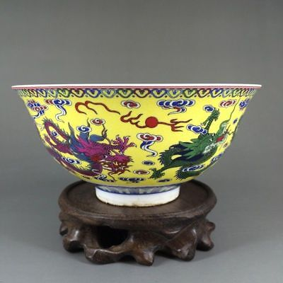 Chinese Colourful Porcelain Hand Painted Dragon Pattern Bowl W Qianlong Mark.
