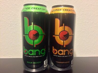 BANG ENERGY DRINK Sour Heads & Champagne 16 Oz Cans W/ BCAA And CREATINE