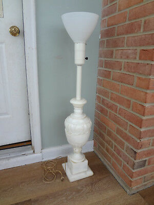 """Large 40"""" Torchiere White Marble Carrera Alabaster Floor Lamp, Works!"""