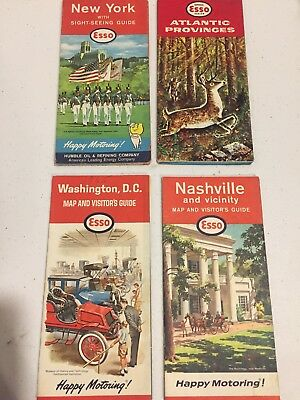Esso Vintage Travel Road Maps Lot Of 4 Gas And Oil Advertising