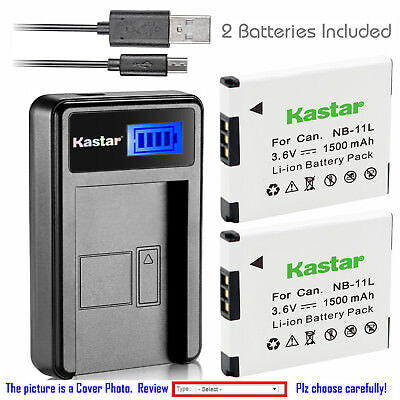 Kastar Battery LCD Charger for Canon NB-11L NB-11LH & ELPH 350 HS ELPH 360 HS
