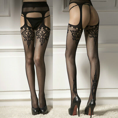 Women Sexy Lace Sheer Over Knee Thigh Stockings High Socks Pantyhose Tights .
