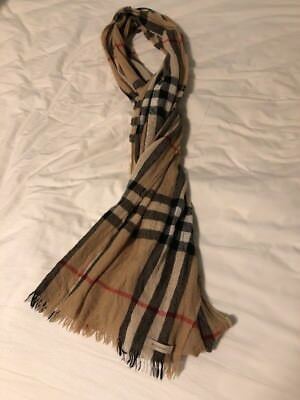 Burberry Scarf Classic Check Beige Camel Modal Cashmere Wool Plaid Scarf