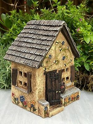 Miniature Dollhouse FAIRY GARDEN ~ Mini Pansy Place Cottage House w Hinged Door