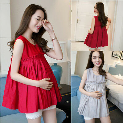 New Summer Pregnant Women Pleat Sleeveless Baby Doll Maternity Dress Clothes Top