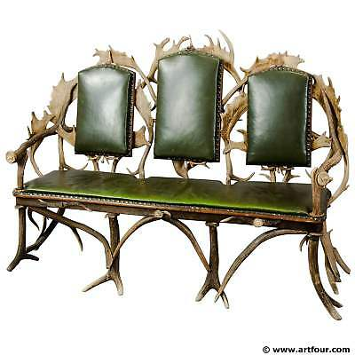 antique black forest three seater antler sofa 1900