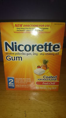 Nicorette Gum 2MG Fruit Chill Flavor 160 Pieces New Help Stop Smoking