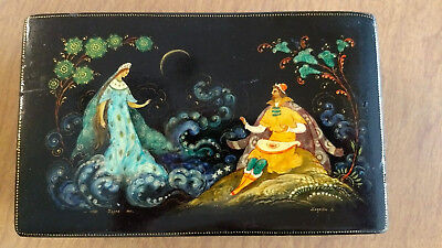 """6.75 x 4 in Russian Lacquer Box Palekh 1972 """"Tsar Saltan and the Swan Maiden"""""""