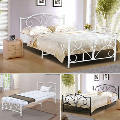 Modern Sturdy Single&Double Size Metal Bed Frame Adult Children White Stylish