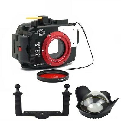 Seafrogs 60M Underwater Camera Housing Case for Olympus TG5 Dome Port Lens Tray