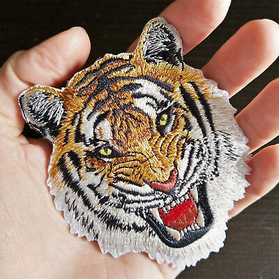 TIGER Iron-On Embroidered Roaring Wild Animal Applique Patch