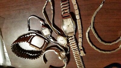 Scrap Gold  & Gold Filled Vntage Watch For Repair  And Watch  Band Lot 110 G