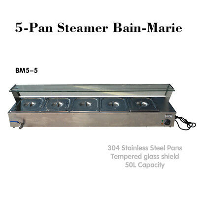 Neu Edelstahl 5-Pan Steamer Bain-Marie Buffet Countertop Food Warmer Steam Table