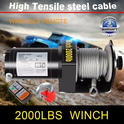 DCFlat 12V 2000LB Electric Trailer Recovery Winch Steel Cable ATV/Boat/Truck/Car