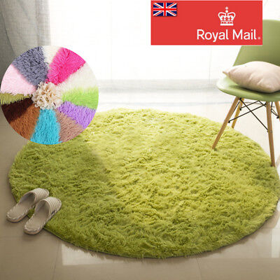 Fluffy Rugs Anti-Skid Shaggy Area Rug living Carpet Round Flooring Mat 40-100cm