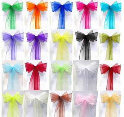 """Organza Chair Cover Sashes Bow Wedding Anniversary Party Dinning DIY 23"""" X 108"""""""