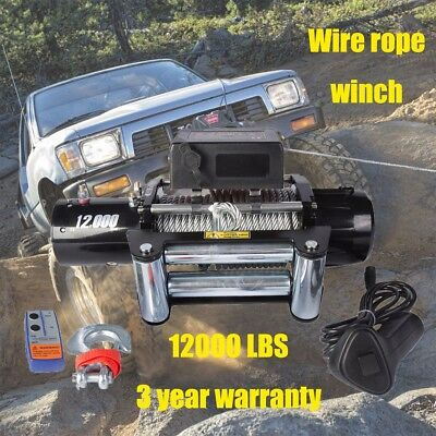 DCFlat 12V 12000LB Electric Trailer Recovery Winch Steel Cable ATV/Boat/Truck