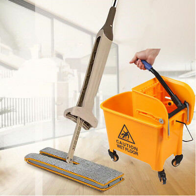 Floor Magic Spin 20 Litre Mop Bucket with Wheel and Microfiber Lazy Flat Mop UK