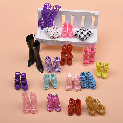 16 Pairs Party Daily Dress Outfits Clothes High Shoes For Doll Gift.