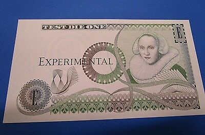 "Bank of England Experimental Test Die One ""Note."" 1980's Uniface"
