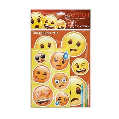 Emoji Branded PLay Pack Colouring Book Pad Set Pencil Crayons Picture Sheets Fun