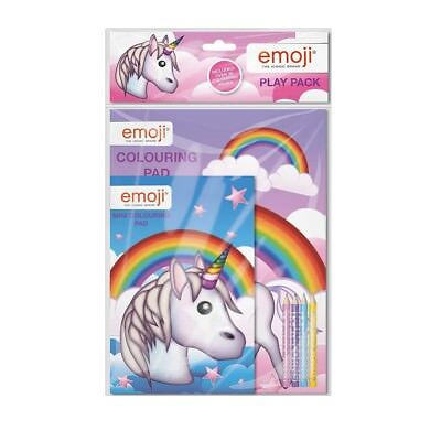 Emoji Unicorn Play Pack Travel Colouring Book Pad Set Pencil Crayons Activity
