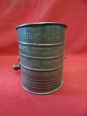 Charming Vintage Bromwells Flour Sifter / Sieve With Measure On Side