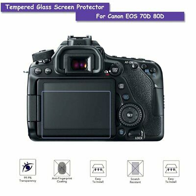 Tempered Glass LCD Screen Protector Shield Film Guard for Canon EOS 70D 80D