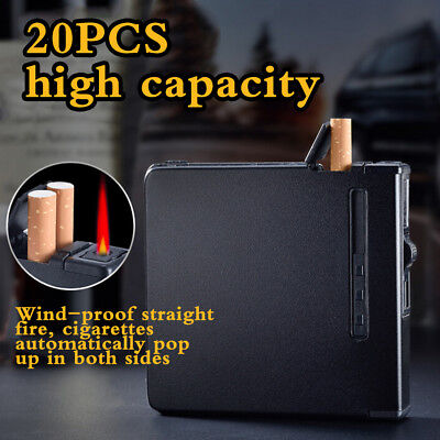 Automatic Cigarette Case With Inbuilt Windproof Lighter Black Metal Box Holder