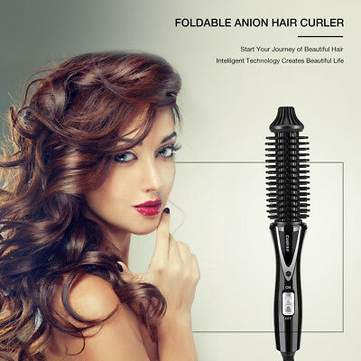 Professional 3in1 2-Way Rotating Curling Iron Hair Brush Curler Straightener t