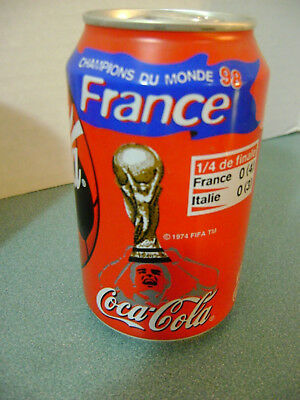 Coca Cola Coke Can (full) France World Cup Football / Soccer Champions 1998