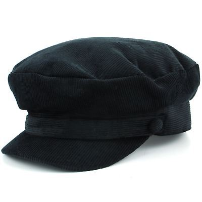 Hat Corduroy Captain's Breton Cap Beatles Lennon Newsboy Cadet Black Blue