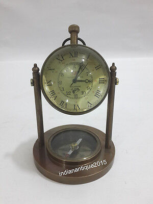 Nautical Antique Brass Finish Desk Top Table Clock With Compass  Clocks Replica