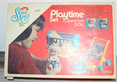 Vintage Remco Sweet April Playtime Set + Box + Clothes + Doll Extras