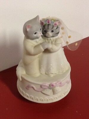 "Rare Kitty Cucumber Santa Bride And Groom Music Box , Plays ""wedding March"" 1987"