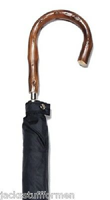Harvy Classics Congo Wood Natural Bark Crook Handle Black Umbrella