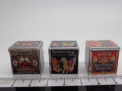 1:12 Scale 3 Empty Dolls House Miniature Victorian Biscuit Tins Kitchen Food