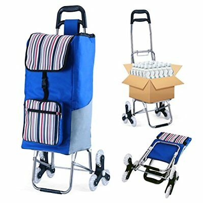 Folding Shopping Cart Grocery Utility Cart Stair Climbing Trolley Dolly Large...