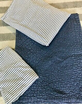 RHbaby vintage ticking navy bedding set for toddler bed