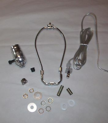 "NICKEL SILVER ~ Make a Table Lamp Wiring Kit ~ON/OFF Socket & 11"" Harp ~ by PLD"